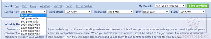 опции браузеров