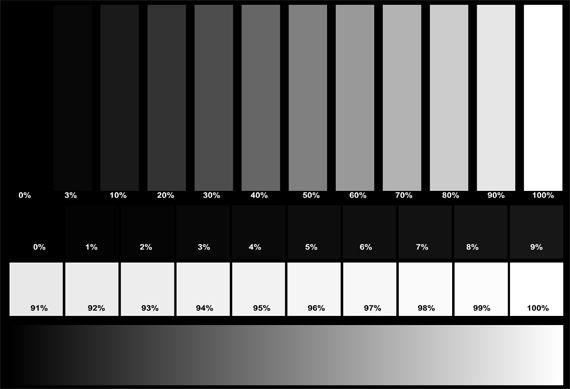 Проверка отображения оттенков серого