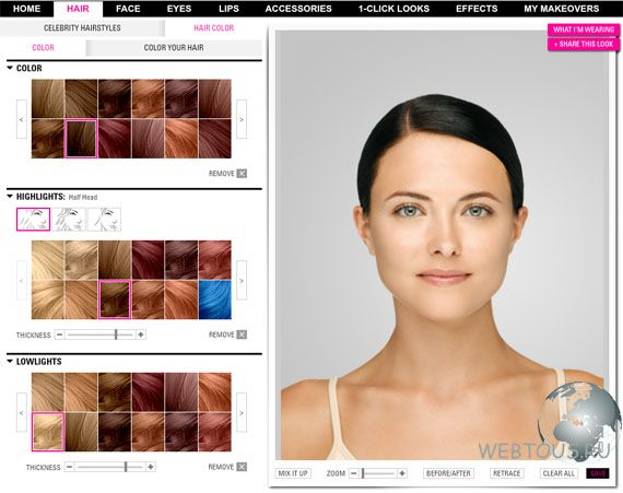 Подбор макияжа и прически онлайн бесплатно по фото