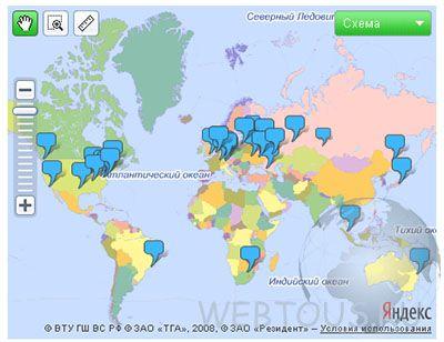 точки проверки по всему миру