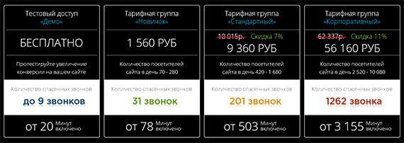 тарифы сервиса