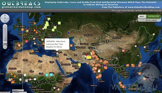 карта эпидемии эбола