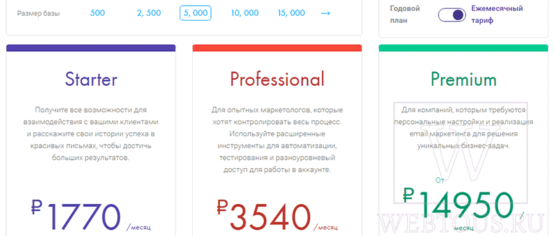 стоимость тарифов mailigen