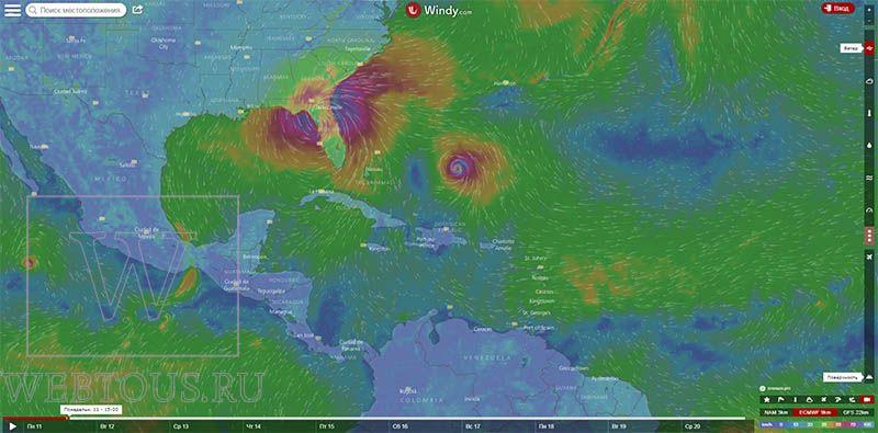 карта погоды windy com