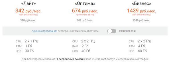 тарифы на vps без администрирования