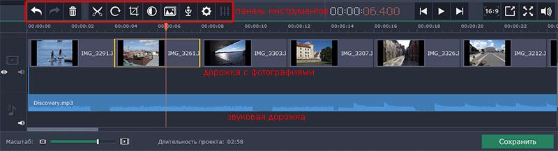 редактирование клипов и наложение музыки