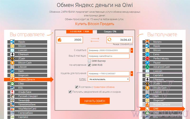 Обменник Qiwi, Яндекс Деньги, Приват24, Webmoney WMZ