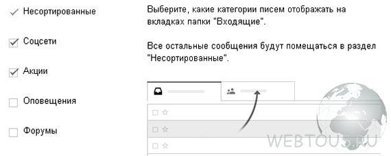 категории gmail