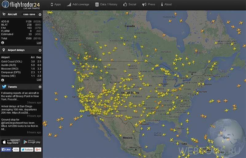 Отслеживание рейсов самолетов