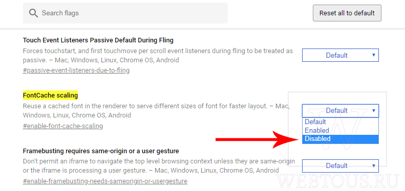 изменение параметра FontCache scaling в настройках браузера
