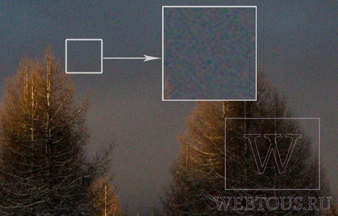 пример цифрового шума на фото