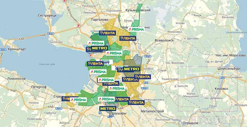карта доставки по СПб