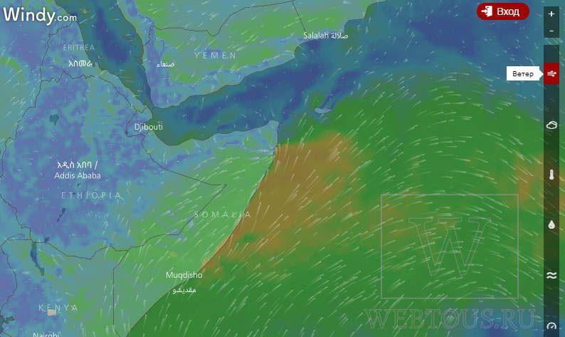 онлайн карта ветров