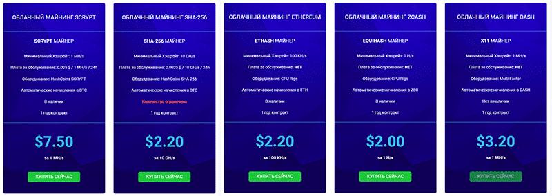 стоимость тарифов в HashFlare