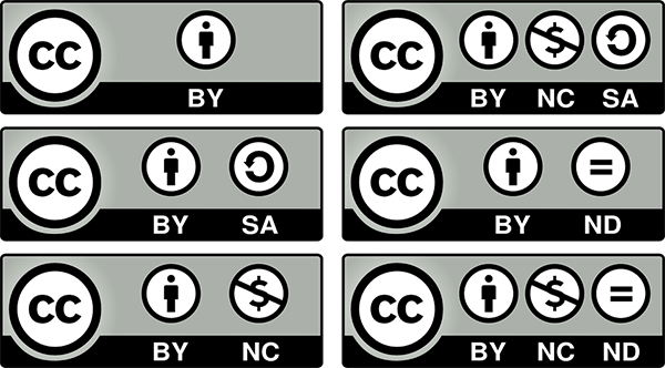 значки, используемые при описании условий авторского права