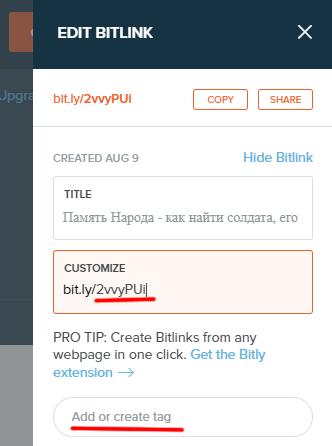 опции укорачивания ссылки в bitly
