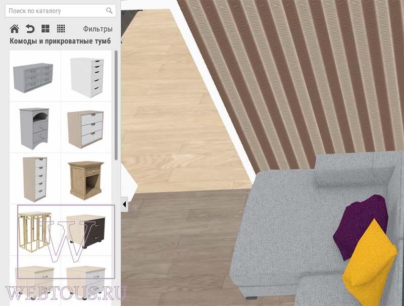 добавление мебели в планировщик интерьера