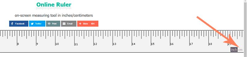 переключение между дюймами и сантиметрами