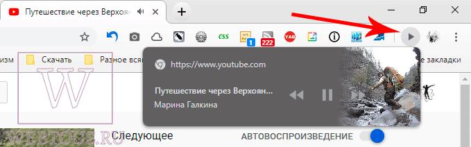 кнопка управления аудио и видео