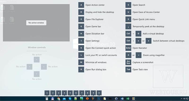 экран подсказки по горячим клавишам