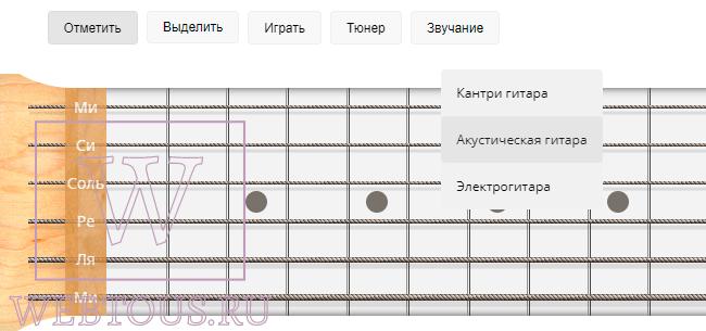 выбор типа виртуальной гитары