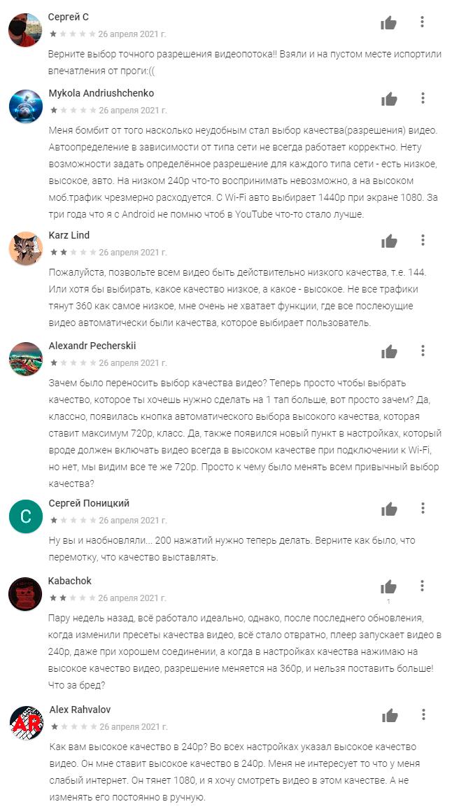 отзывы пользователей о свежей версии приложения Ютуб