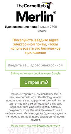 приложение merlin bird id